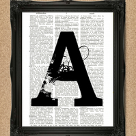 INITIAL DICTIONARY PRINT personalised monogram art A189D