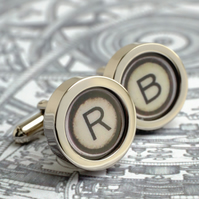 Typewriter Cufflinks Initial Monogram Typewriter Key Accessories Gift for Men