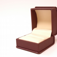 Burgandy Leatherette Engagement Ring Box, Wedding Ring Holder, Proposal B014
