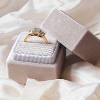 Luxurious Oyster Grey Velvet Ring Box for Engagement, Wedding or Heirloom Ring