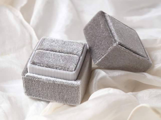 Luxurious Silver Grey Velvet Ring Box for Engagement, Wedding or Heirloom Ring