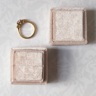 Luxurious Rich Cream Velvet Ring Box for Engagement, Wedding or Heirloom Ring