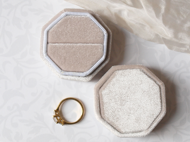 Oyster Grey Velvet Octagonal Ring Box for a Very Special Ring