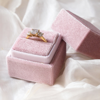 Luxurious Blush Pink Velvet Ring Box for Engagement, Wedding or Heirloom Ring