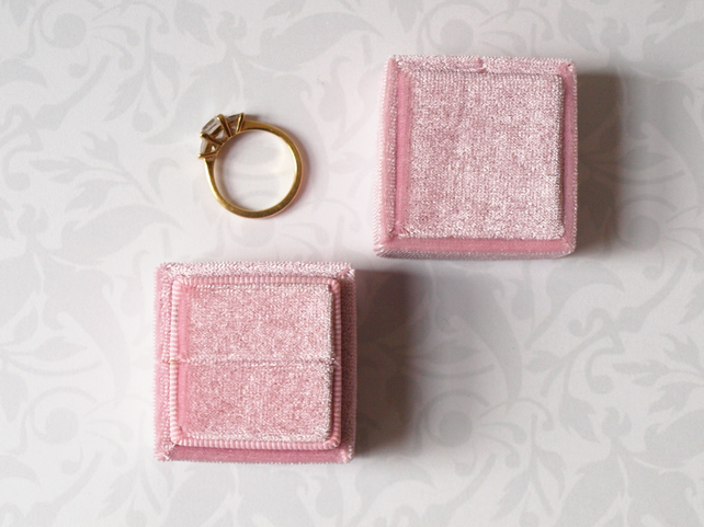 Luxurious Pearl Pink Velvet Ring Box for Engagement, Wedding or Heirloom Ring