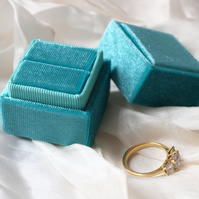 Aqua Turquoise Velvet Ring Box for Engagement, Wedding or Heirloom Ring