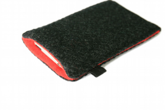 slim iPhone case in charcoal grey Tweed with red felt lining