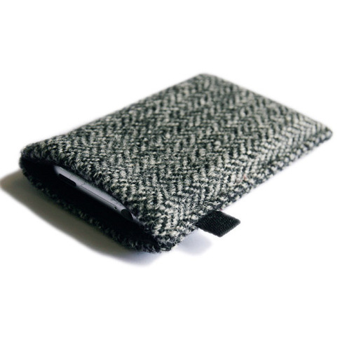 slim iPhone  iPod case in black, grey herringbone Harris Tweed with black lining