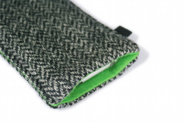 slim iPhone case in grey herringbone Harris Tweed with bright green lining