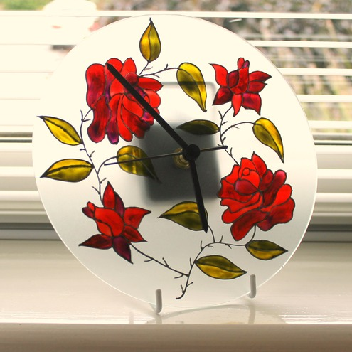 Hand painted glass wall clock - wall decoration