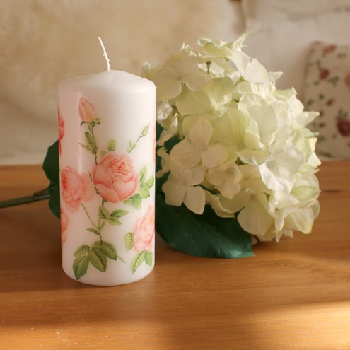 Decoupage Candle With Pink Rose Design Folksy