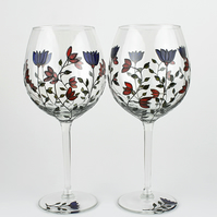 Hand Painted Wine Glasses, Blue & Red Flowers, Balloon Wine Glasses, Set of 2