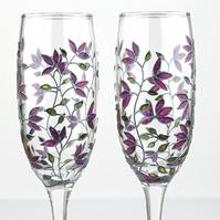 Hand Painted Champagne Glasses, Toasting Flutes, Purple Tulips Design, Set of 2