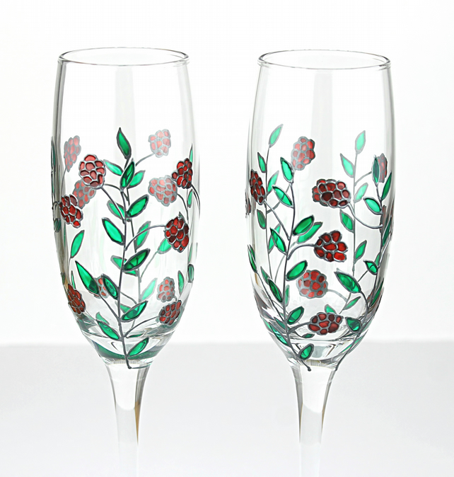 Hand Painted Champagne Glasses Wedding Glasses Folksy