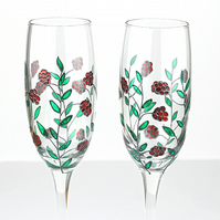 Hand Painted Champagne Glasses, Wedding Glasses, Raspberry Design, Set of 2