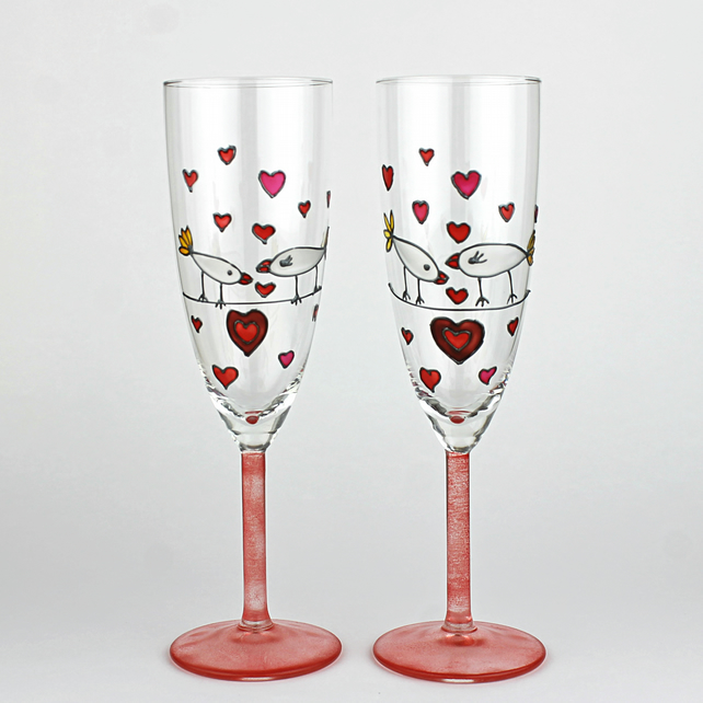 Hand Painted Champagne Glasses Wedding Toastin Folksy