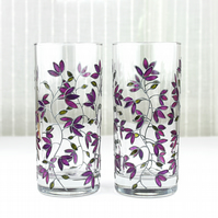 Hand Painted Glasses, Tumblers, Water Glasses, Set of 2, Purple Tulips Design