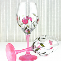 Hand Painted Wine Glasses, Wedding Glasses, Pink Tulips Design, Set of 2