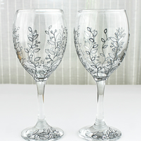 Hand Painted Wine Glasses, Silver Floral Design, Wedding Glasses,  Set of 2