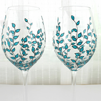 Hand Painted Wine Glasses, Wedding Glasses Blue Leaves Deign, Set of 2
