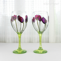 Hand Painted Wine Glasses, Purple Tulips Design, Floral Wine Glasses, Set of 2