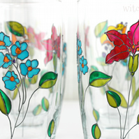 Hand Painted Water Glasses, Tumblers,  Set of 2, Embroidery Inspired Design