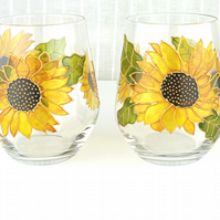 Stemless Wine Glasses, Sunflower Design,  Hand painted, Set of 2