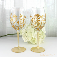 Hand Painted Wine Glasses, Wedding Glasses, Gold Floral Design, Set of 2