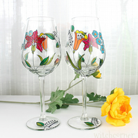 Hand Painted Wine Glasses,  Set of 2, Embroidery Inspired Floral Design