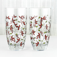Hand Painted Glasses, Tumblers, Water Glasses, Set of 2,  Red Tulips Design