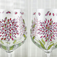Hand Painted Wine Glasses with Swarovski Crystals, Set of 2, Floral  Design