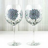 Hand Painted Wine Glasses, Wedding Glasses, Balloon Wine Glasses, Set of 2
