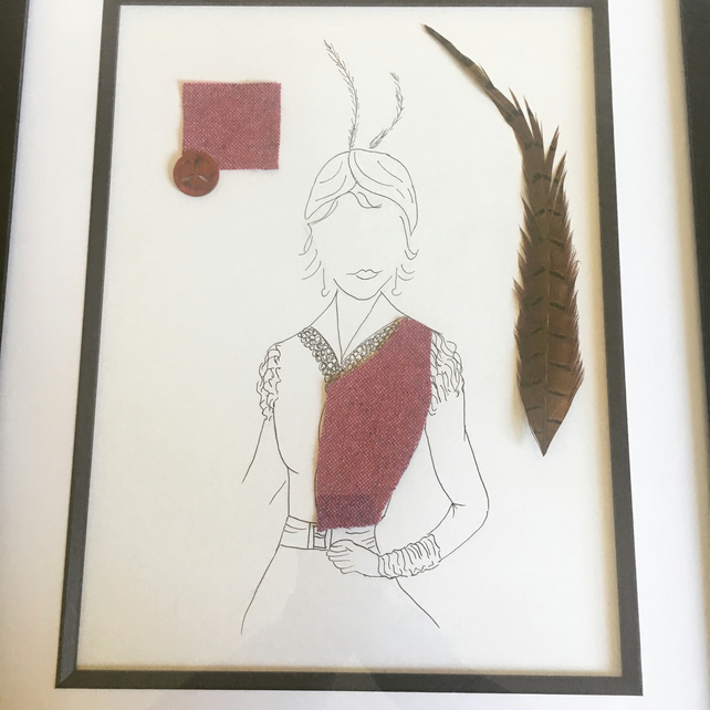 Women's vintage fashion sketch, box framed