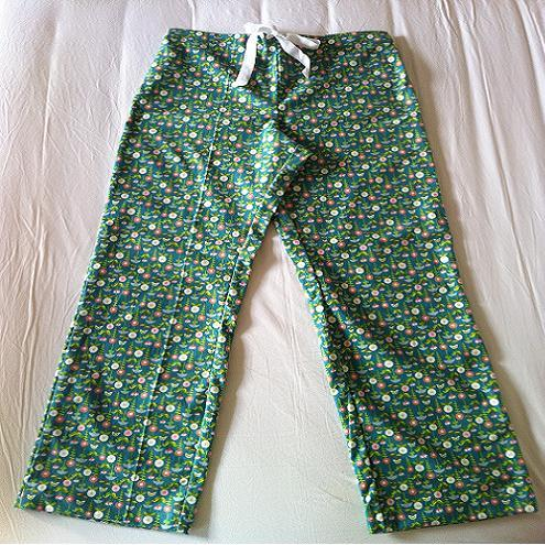 Soft Cotton Flannel Pyjamas pants in Midnight Garden - teal