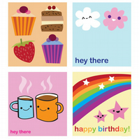 4 Cute mini greetings cards