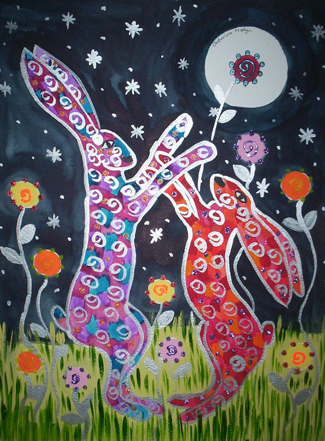 "greeting card, Quirky Hares boxing among the flowers, 5"" by 7"""