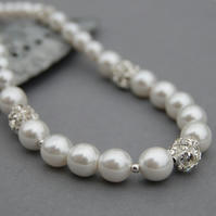 Pearl and Rhinestone Bridal Necklace