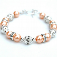 Peach Pearl and Rhinestone Bracelet