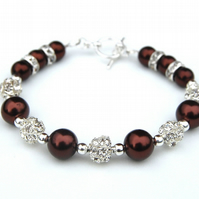 Chocolate Brown Pearl Rhinestone Bracelet