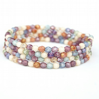 Pastel Beaded Memory Wire Bracelet, One size fits all, Beaded Cuff Bracelet
