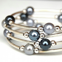 Black, Grey and Silver Pearl Memory Wire Bracelet