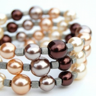 Autumn Pearl Memory Wire Bracelet