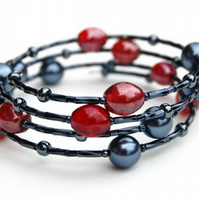 Red and Navy Memory Wire Bracelet