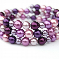 Purple and Pink Pearl Memory Wire Bracelet