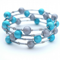 Teal and Grey Memory Wire Bracelet