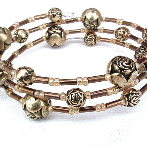Gold and Bronze Memory Wire Bracelet