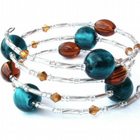 Teal, Brown and Silver Wraparound Bracelet