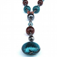 Teal, Brown and Charcoal Necklace - RESERVED FOR ILLUSIO