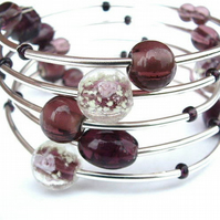 Amethyst and Silver Wraparound Bracelet