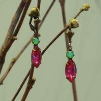 Pink & Green Sparkle Earrings